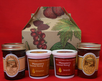 GRAVES MOUNTAIN APPLE BUTTER  AND PEACH BRANDY PRESERVES, MONASTERY CINNAMON AND BRANDY CREAMED HONEY
