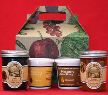 GRAVES MOUNTAIN APPLE BUTTER AND ORANGE MARMALADE,  MONASTERY CINNAMON AND LEMON CREAMED HONEY GIFT BOX