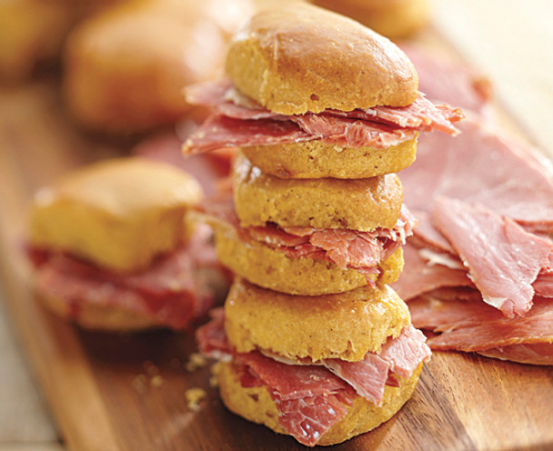 SWEET POTATO BISCUITS AND GENUINE SMITHFIELD HAM SLICES