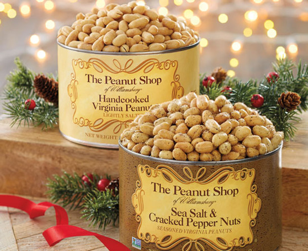 The Peanut Shop of Williamsburg Sea Salt & Cracked Pepper and Handcooked Lightly Salted Peanuts
