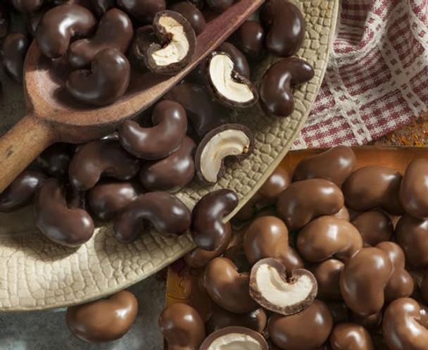 THE PEANUT SHOP OF WILLIAMSBURG MILK CHOCOLATE COVERED CASHEWS