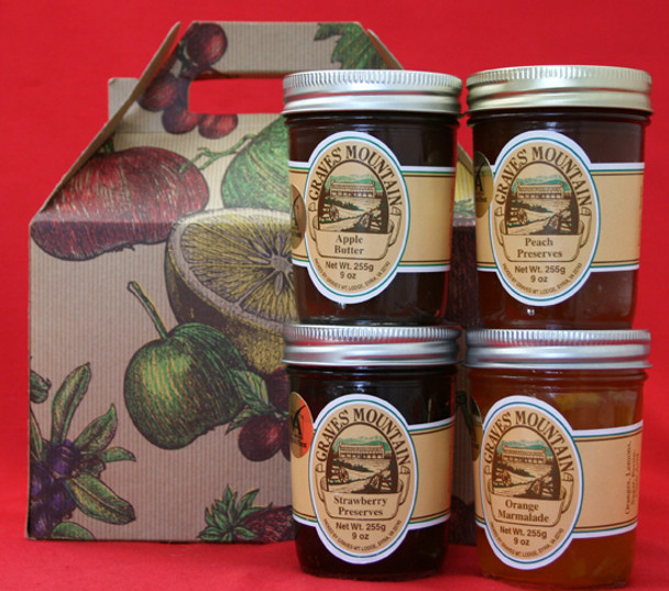 GRAVES MOUNTAIN PRESERVE AND APPLE BUTTER SAMPLER GIFT BOX - ORANGE MARMALADE, STRAWBERRY PRESERVES, AND APPLE BUTTER