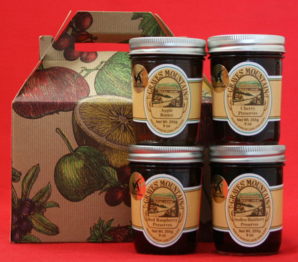 GRAVES MOUNTAIN PRESERVE AND APPLE BUTTER SAMPLER GIFT BO - RED RASPBERRY PRESERVES, SEEDLESS BLACKBERRY PRESERVES, CHERRY PRESERVES and APPLE BUTTER