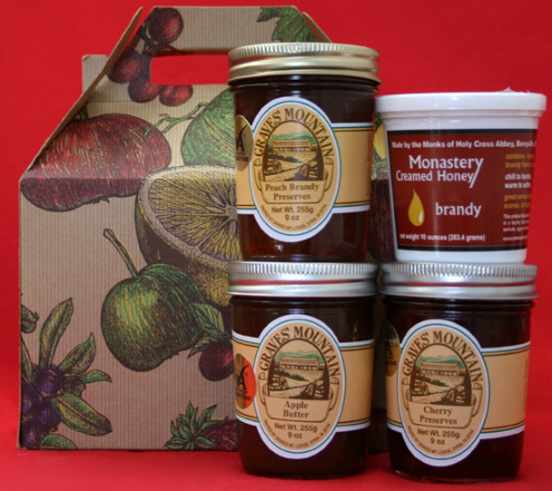 GRAVES MOUNTAIN PRESERVES AND APPLE BUTTER AND MONASTERY CREAMED HONEY