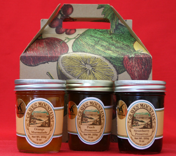 GRAVES MOUNTAIN PRESERVES SAMPLER GIFT BOX - ORANGE MARMALADE< STRAWBERRY PRESERVES and PEACH PRESERVES