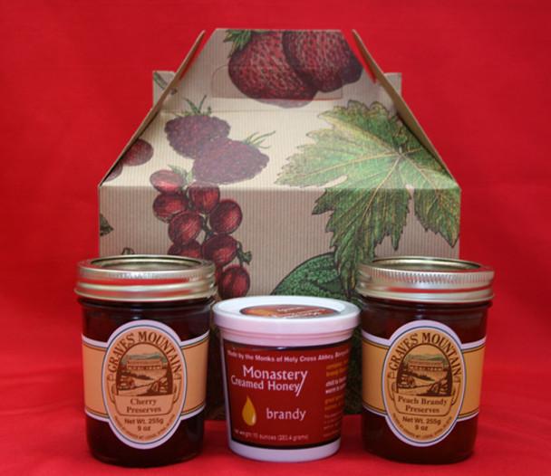 PEACH BRANDY AND CHERRY PRESERVES AND MONASTERY CREAMED BRANDY HONEY GIFT BOX