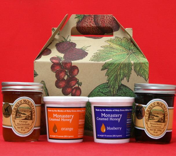 STRAWBERRY PRESERVES AND ORANGE MARMALADE, ORANGE AND BLUEBERRY CREAMED HONEY GIFT BOX