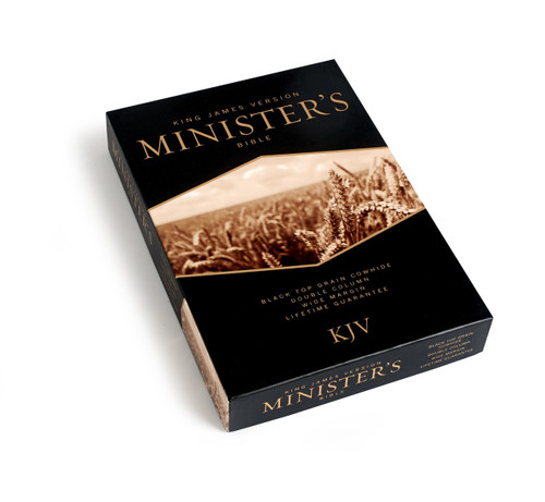"""Holman's premiere edition of the KJV Minister's Bible is ideal for pulpit use with its large type, wide margins, and extensive ancillary notes from many of today's top preachers and church leadership voices. It's the perfect presentation item for a variety of special occasions including Pastor Appreciation Month (October).  FEATURES • Lifetime guarantee • Two-piece gift box • Two-column Bible text setting • One inch outside margins for taking  notes • Sixty-six page KJV concordance • Eight 4-color maps • Where to Turn When . . . • Plan of Salvation • Four-color presentation page • Various wedding and funeral outlines by Jim Henry • """"Why Read the King James Version?"""" by Calvin Miller • """"8 Traits of Effective Church Leaders"""" by Thom S. Rainer • """"21 Essentials of Authentic Ministry"""" by James T. Draper • """"Four Kinds of Expositional Preaching"""" by Ed Stetzer • """"30 Keys to Giving an Invitation"""" by O. S. Hawkins • """"Leading a Child to Christ"""" by Bill Emeott • """"Reaching Students with the Gospel"""" by Lynn H. Pryor • """"The Importance of Baptism and Communion"""" by Rick White • Commitment Counseling • The Christian Year and Church Calendar • The Apostles and Their History • Table of Weights and Measures"""