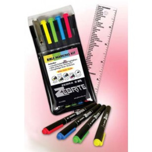 This kit includes double-ended highlighters, a fine-tipped, black-ink pen and a small ruler to help in the study of God's Word. Highlighter colors are yellow, blue, pink, and green. Highlighter colors do NOT bleed through thin Bible paper. Kit includes:  4 Double-ended Bible highlighters (small and medium tips for underlining or highlighting) 1 Bible underliner/writing pen 1 Straightedge/ruler/bookmark with listing of the books of the Bible