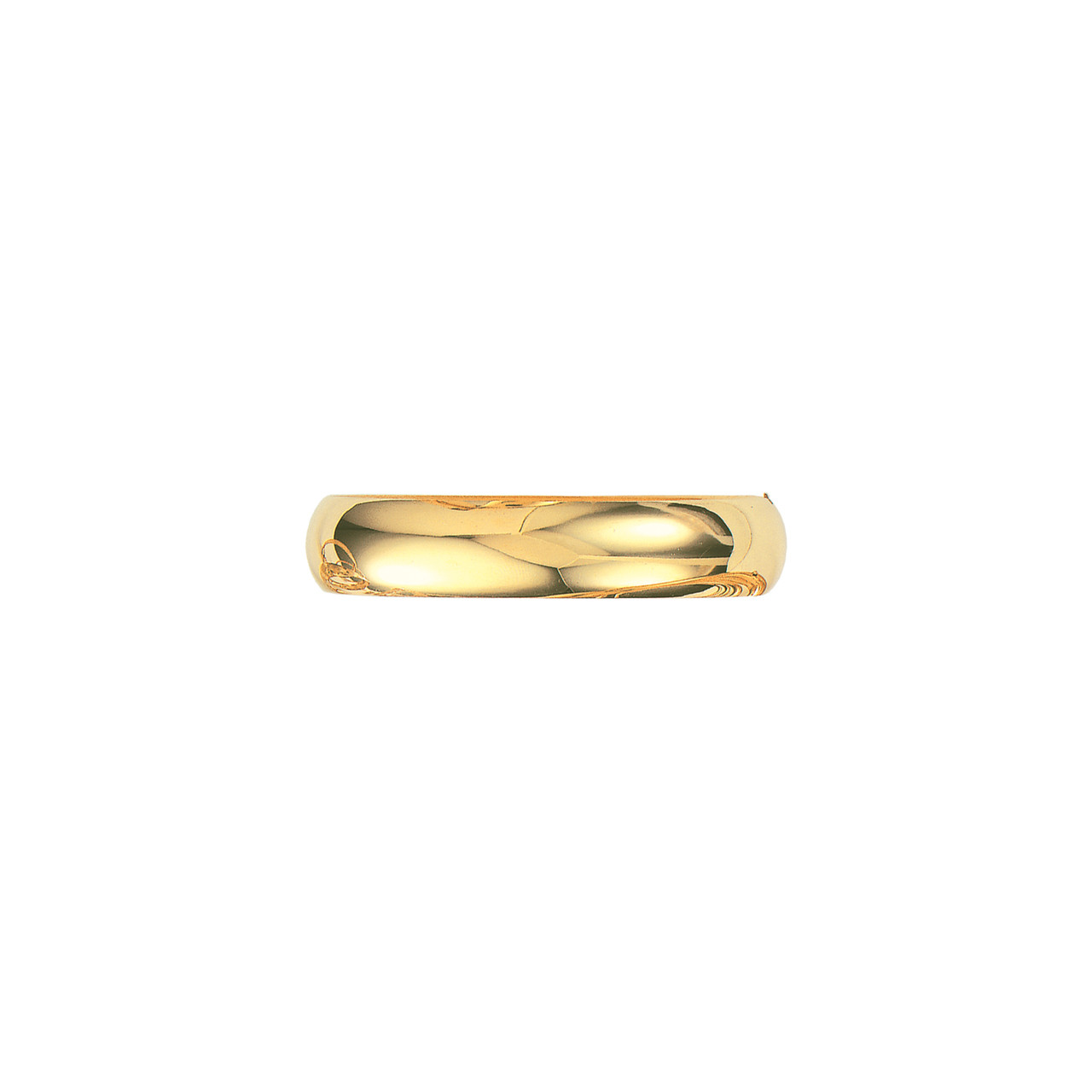 14K Yellow Gold Plain Shiny Round Dome Classic Bangle with Clasp 7, 6.0 mm