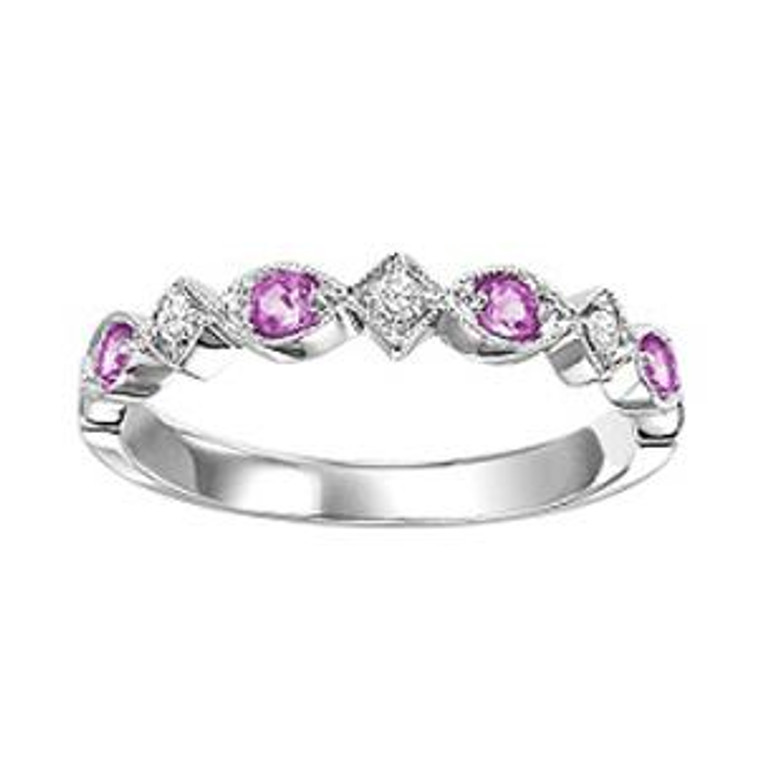14K White Gold Pink Sapphire & Diamond Stackable Ring 12002186 | Shin Brothers*