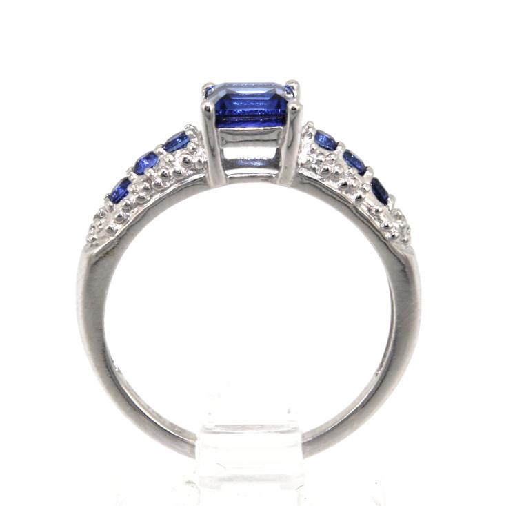 10K White Gold Syntactic Tanzenite Ring