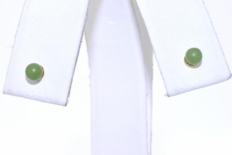 14K Yellow Gold Jade Stud Earrings 42002220