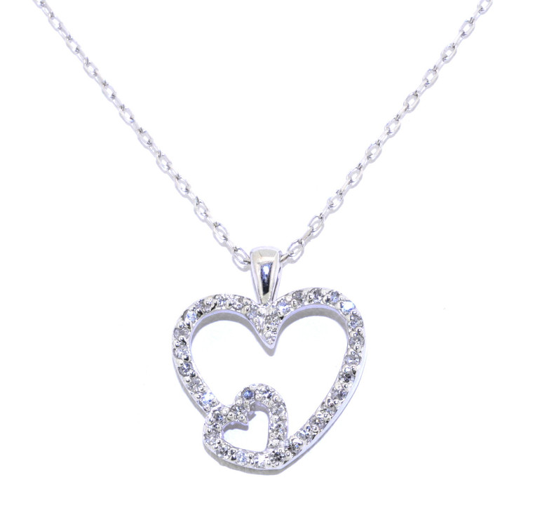 """14K White Gold Diamond Heart Pendant with 16"""" Cable Chain 31000453"""