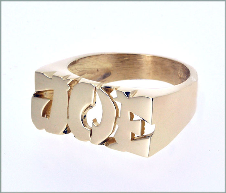 """14K Yellow Gold """"Joe"""" Namering with Asian Style"""