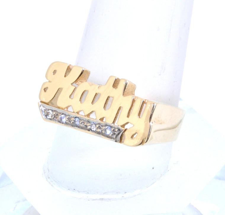 14k Yellow Gold Diamond Kathy Personalized Name Ring 11001418