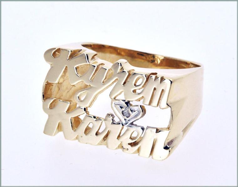 "1330023 14K Yellow Gold ""Kyrem & Karen"" Couple Name Ring With Di"