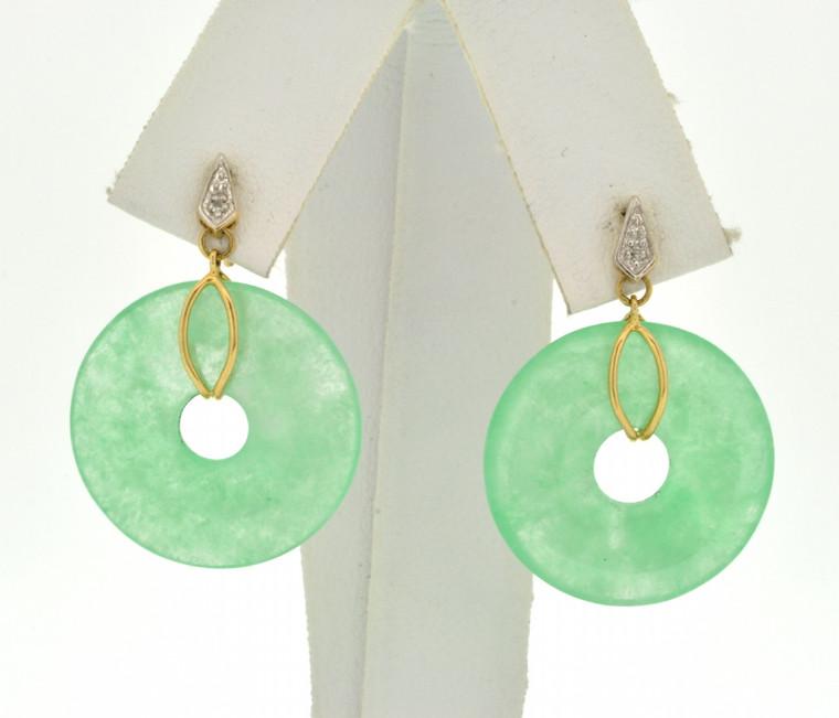 14K Two Tone Gold Circle Jade Drop Earrings 42002589 | Shin Brothers*