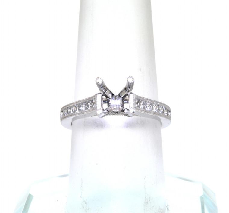 14K White Gold Round and Princess Cut Diamond Engagement Ring Halo Setting