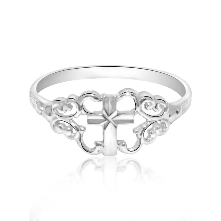 14k White Gold Cross Ring 10017114