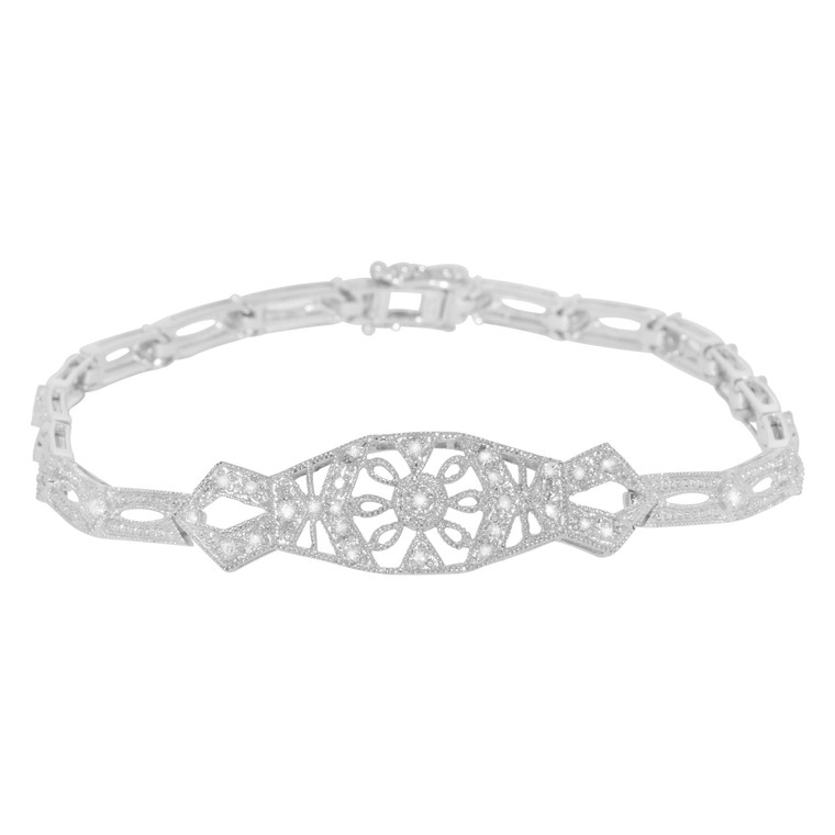 "14K White Gold 7"" Diamond Fancy Bracelet 21000527 