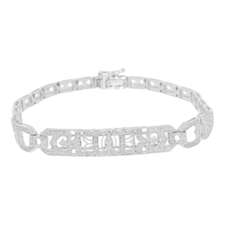 14K White Gold Diamond Fancy Bracelet 21000528