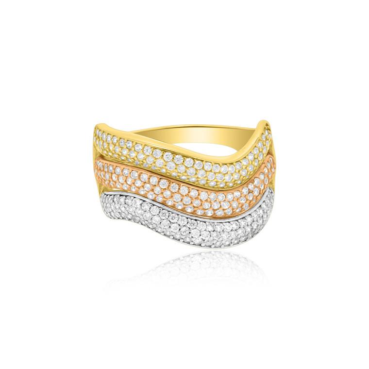 14K Tricolor Gold CZ Ring 12002529