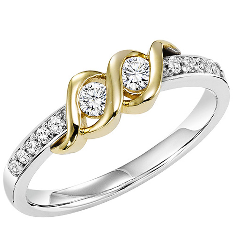 14K White and Yellow Twogether Diamond Ring  11005471   | Shin Brothers*