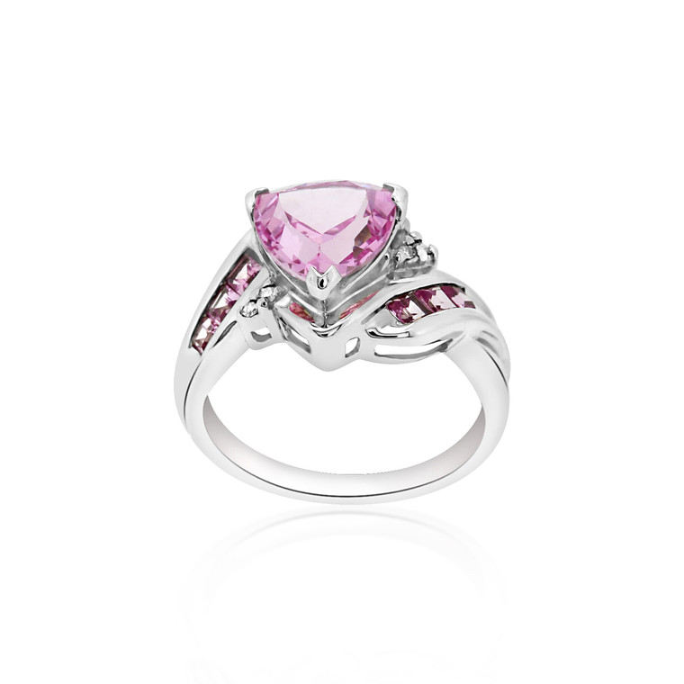 10K White Gold Pink CZ Ring 19210042 | Shin Brothers*