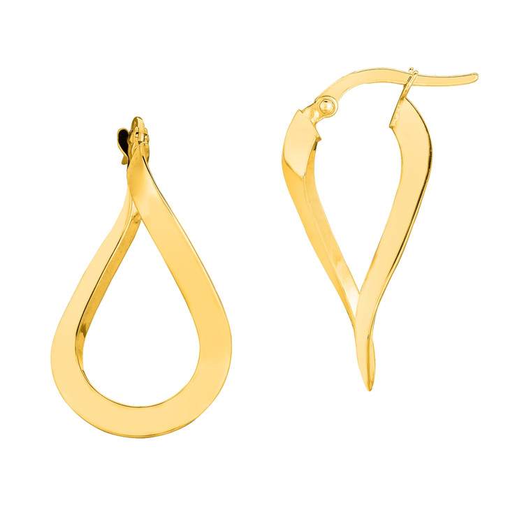 14K Yellow Gold Shiny Oval Shape Freeform Hoop Earring ER1484
