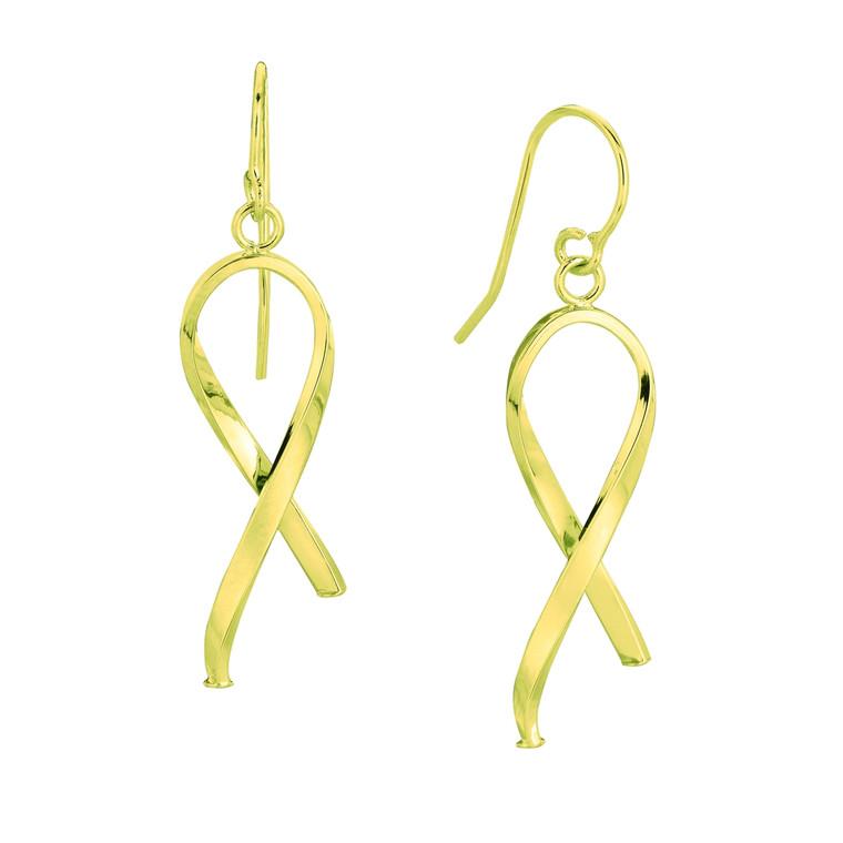 14K Yellow Gold Shiny Ribbon Like freeform Drop Earring ER1820