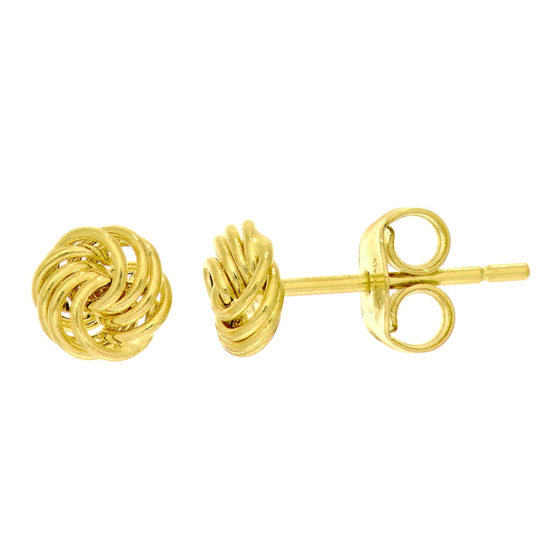 14kt Yellow Gold Shiny Small Love Knot Post Earring ER2949
