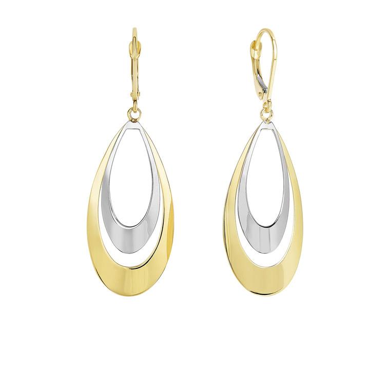 14k Yellow+White Gold Shiny Flat Tear Drop Graduated Earrings