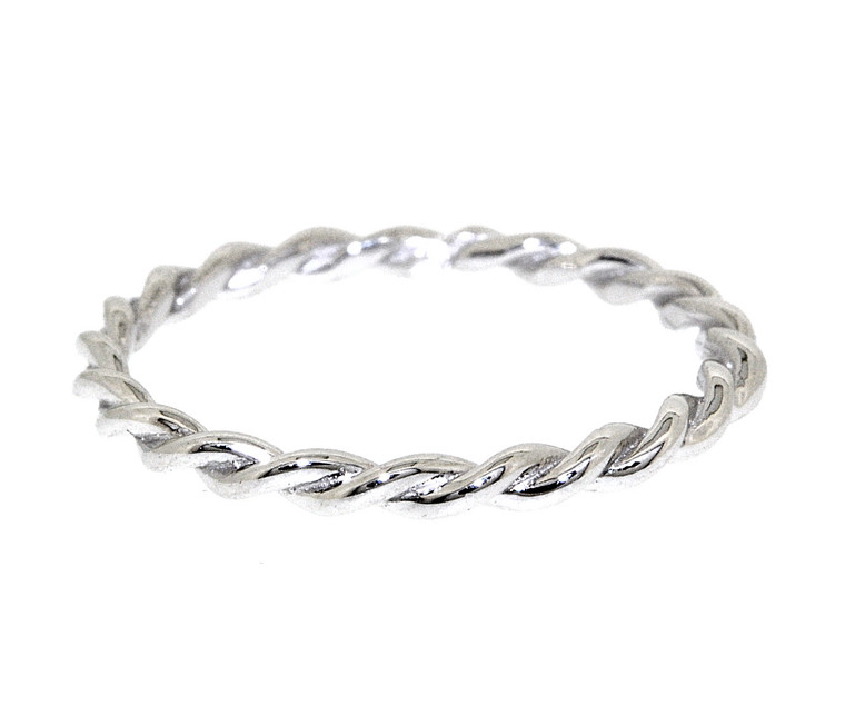 14k White Gold Twisted Rope Ring 10017145 by Shin Brothers Jewelers Inc.