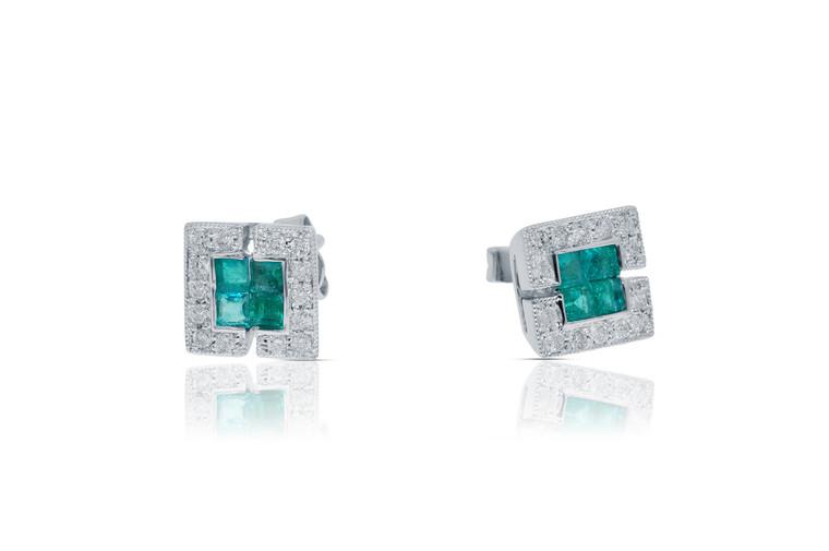 14K White Gold Emerald/Diamond Stud Earrings   Shin Brothers*
