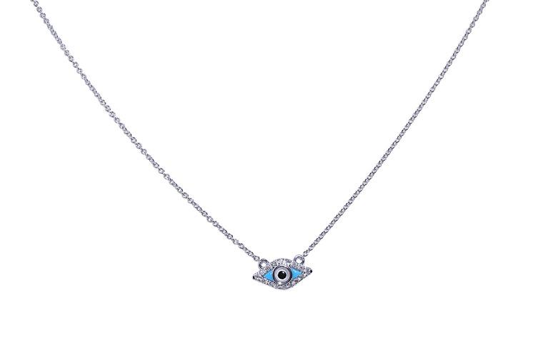 "14K  White Gold Diamond Evil Eye 17"" Necklace 31000737"
