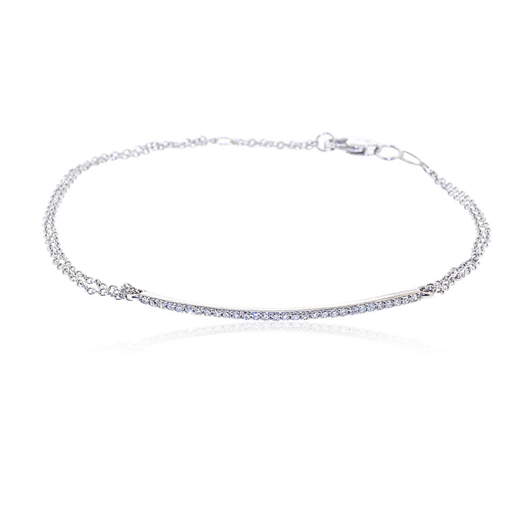 14K White Gold Ladies' Diamond Bar Bracelet 21000570 | Shin Brothers*