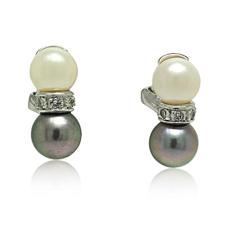 14K White Gold Black and White Pearl Omega Back Earrings