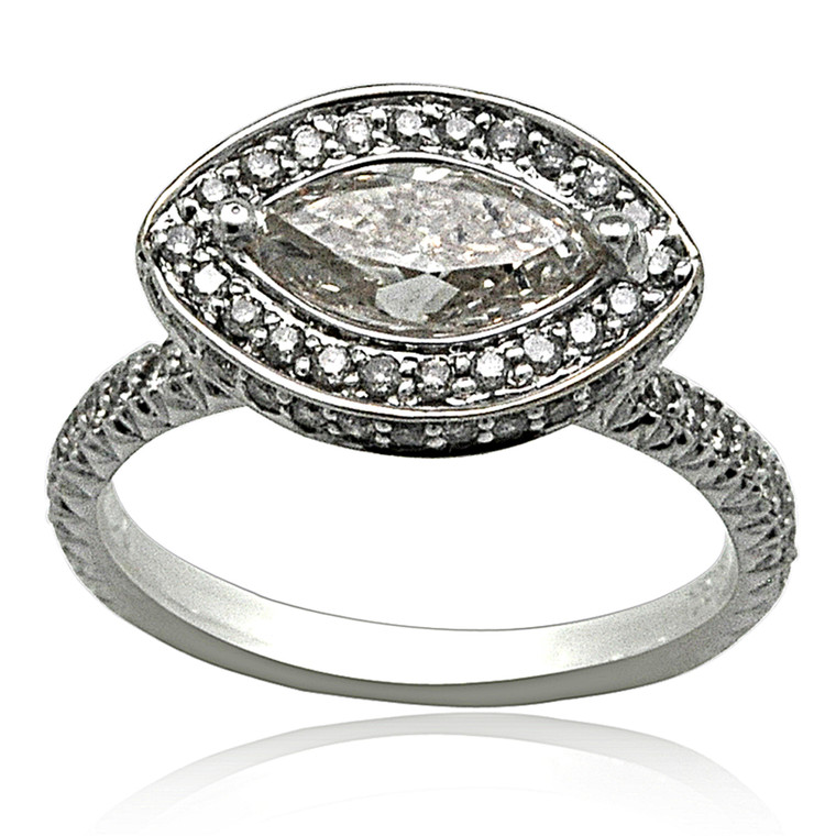 18K White Gold Diamond Engagement Ring 11005931 By Shin Brothers*