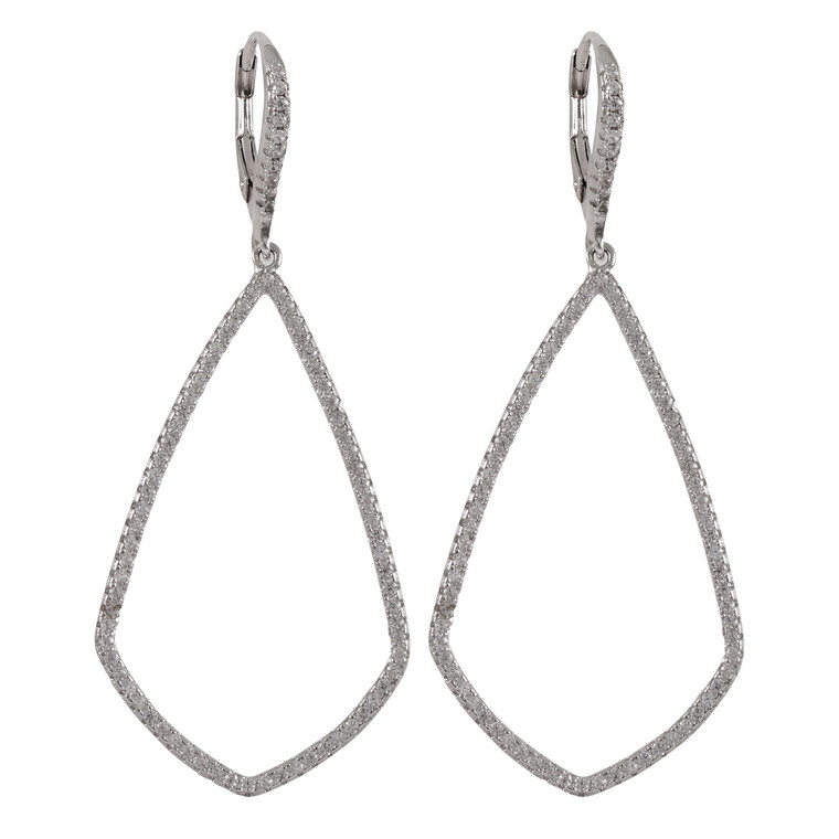 Rhodium Plated Sterling Silver CZ Dangle Lever Back Earrings