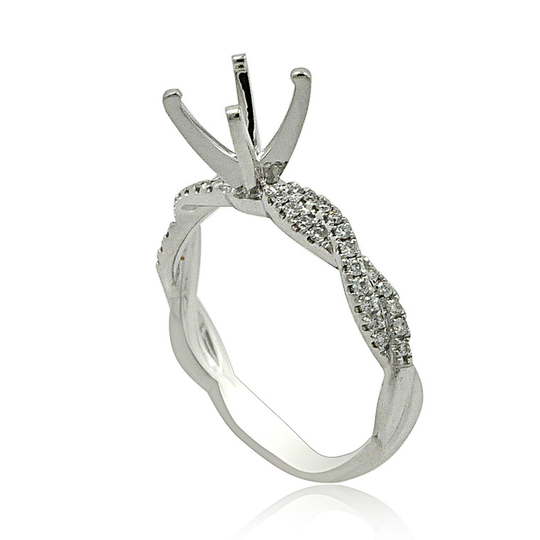 18K White Gold Diamond Engagement Ring Setting 11006043 By Shin Brothers*