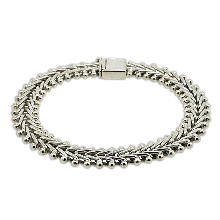 Sterling Silver Fancy V Link Bracelet | Shin Brothers*