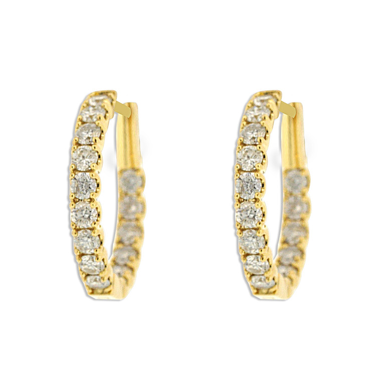 18K Yellow gold Diamond Hoop Earrings 41002233 By Shin Brothers *