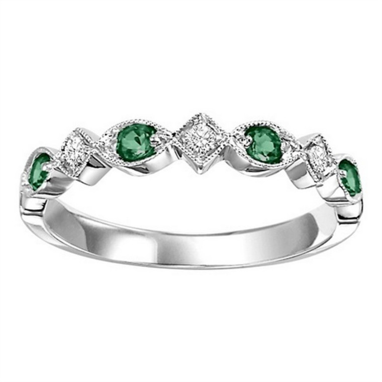 14K White Gold Diamond and Emerald Stackable Ring 12002718  By Shin Brothers*