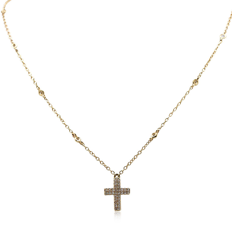 14K Yellow Gold Diamonds by the Yard Cross Necklace 31000886 by Shin Brothers