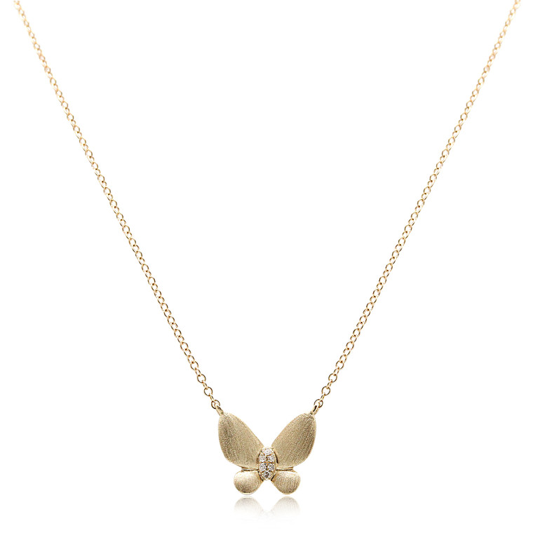14K Yellow Gold Diamond Butterfly Necklace 31000888  | Shin Brothers*
