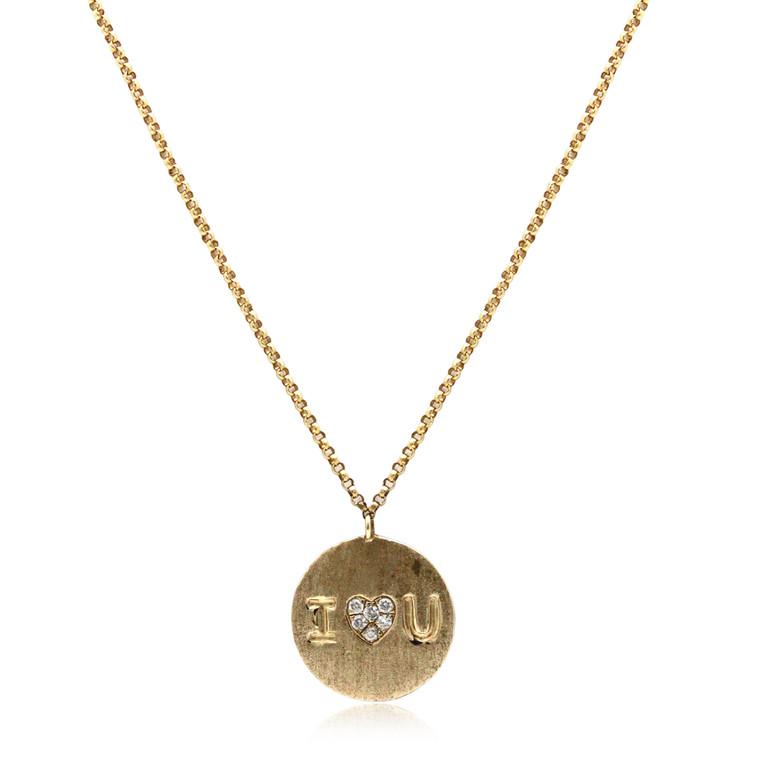 "14K Yellow Gold"" I LOVE U "" Diamond Pendant With 18"" Chain 31000895    | Shin Brothers*"