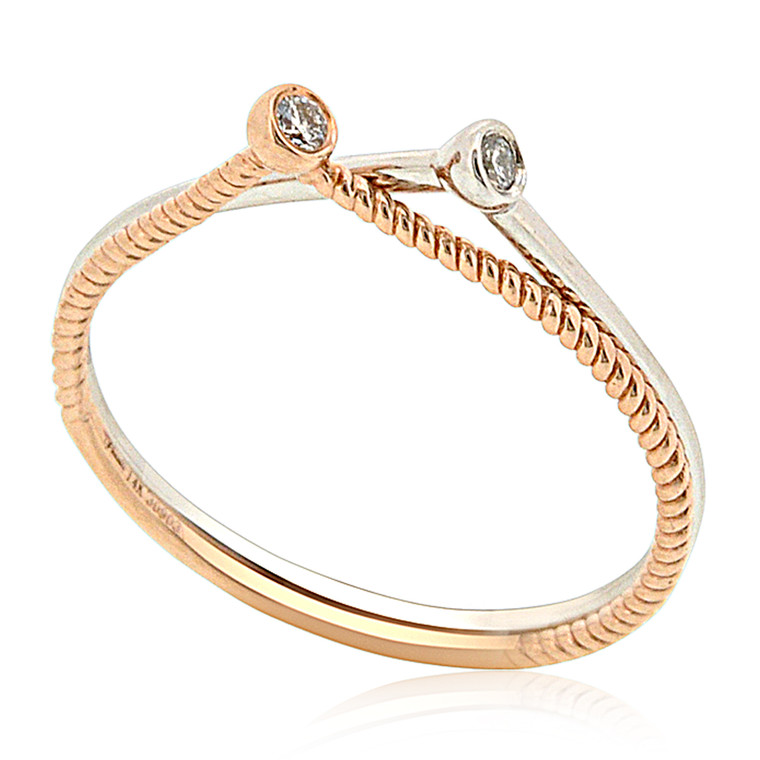 14K White and Pink Gold 2 Piece Diamond Ring 11006094 By Shin Brothers *