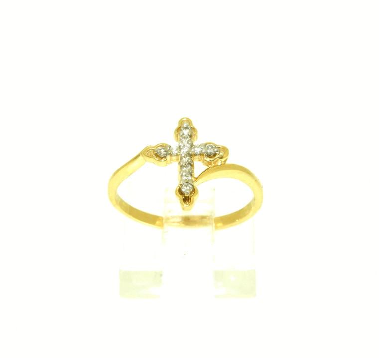 10K Yellow Gold Diamond Cross Ring 19100048 By Shin Brothers
