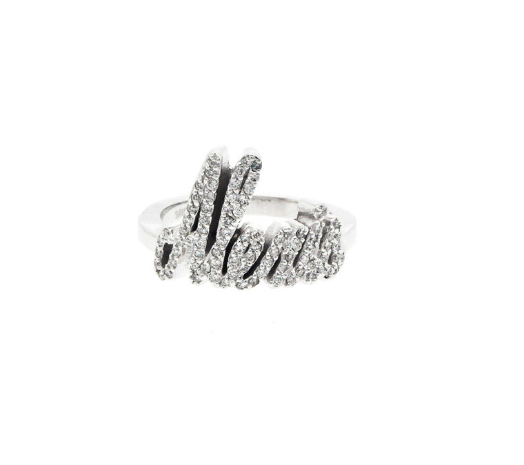 14K White Gold Diamond Name Ring Alexis 13300078
